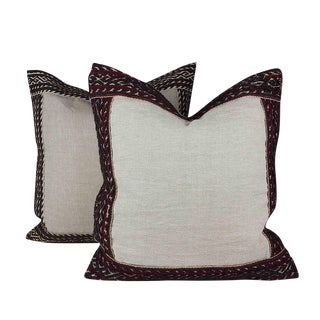 Linen Pillows with Antique Lace - A Pair