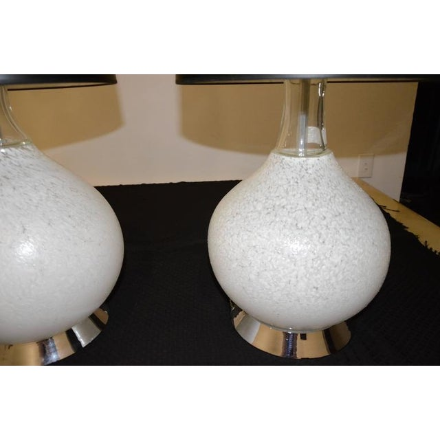 Pair of White Murano Glass and Chrome Table Lamps with Lucite bases by Vistosi of Italy - Image 2 of 8