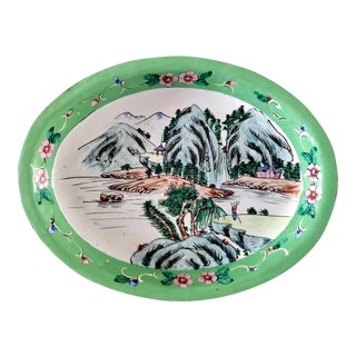 1930s Canton Hand-Painted Enamel Oval Dish With Mountain Scene