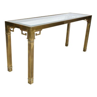 Mastercraft Chinoiserie Brass & Glass Long Console Table