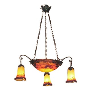 A Colorful Art Glass French Chandelier, Manner of Muller, Noverdy, Degué