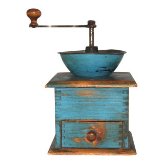 19thC Original Blue Painted Coffee Grinder