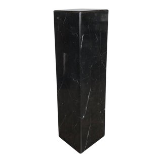 Sophisticated Tessellated Exotic Black Belgian Marble Pedestal