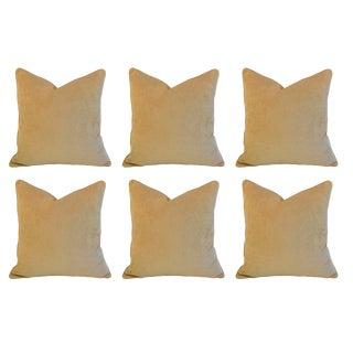 """Custom 22"""" Square Golden Velvet Feather/Down Pillows - Set of 6"""