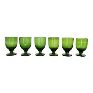 Vintage Green Dessert Glasses - Set of 8