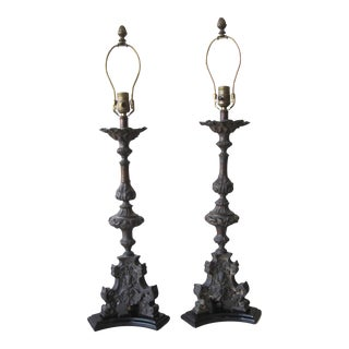 Antique Cast Metal Claw Feet Lamps - A Pair