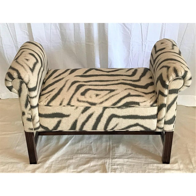 Zebra Print Scroll Arm Bench - Image 3 of 4