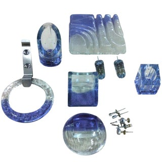 Complete Set of Rare Vistosi Glass Bathroom Fixtures