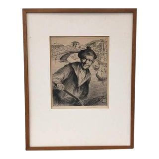 Vintage 1930s Italian Art Etching Print