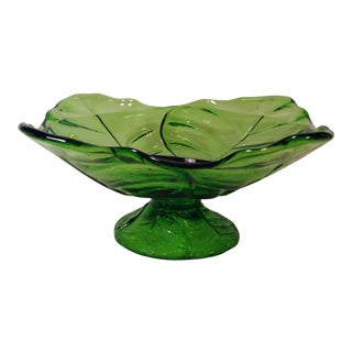 Mid-Century Mdoern Green Blenko Glass Footed Leaf Bowl