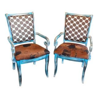 Poky Hide Designer Arm Chairs - Set of 2