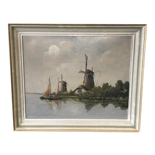 Swedish Vintage Windmill Landscape Painting With Original Frame