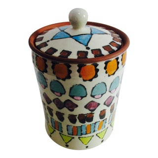 Hand Painted Italian Ceramic Canister Zona New York