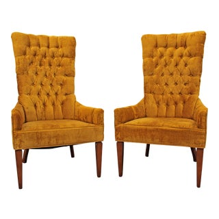 Hollywood Regency Tufted Back Fireside Chairs - A Pair