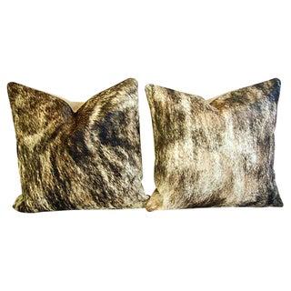 Custom Tri-Color Brindle Cowhide Feather/Down Pillows - a Pair
