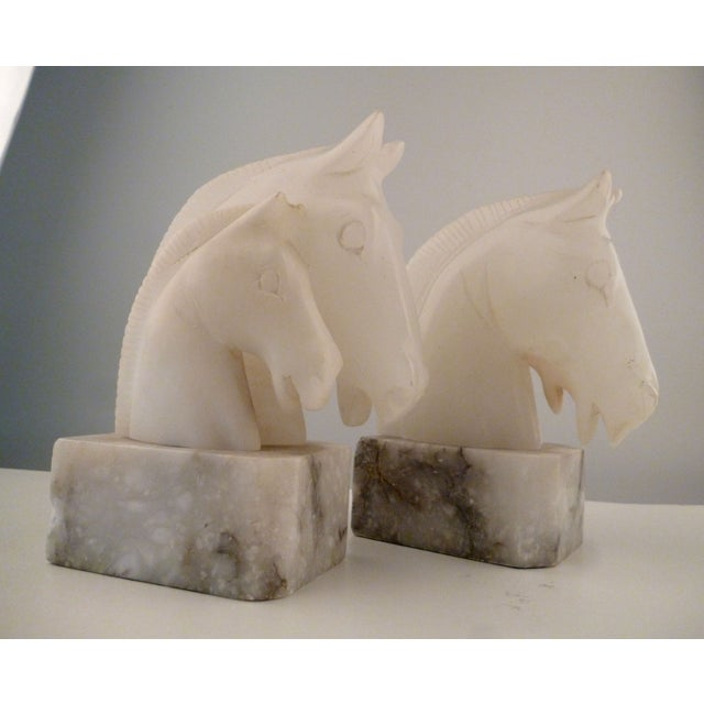 Alabaster Horse Bookends on Marble Bases - Pair - Image 5 of 11