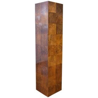 Vintage Milo Baughman-Style Architectural Walnut Pedestal