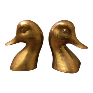 Brass Duck Head Bookends - A Pair