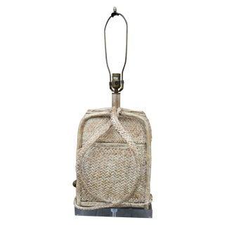 Antique Basket Lamp on Lucite Base