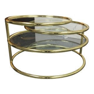 Mid-Century Modern Round Brass & Glass Coffee Table