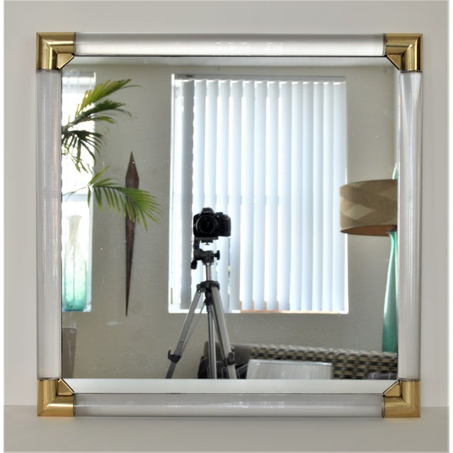 Mid-Century Modern Lucite & Brass Wall Mirror Charles Hollis Jones Style - Image 3 of 11