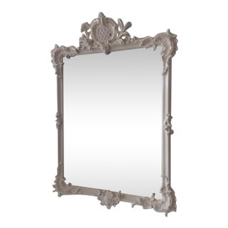 Hollywood Regency French LouisXVI Style White Lacquered Wall Mirror