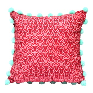 """Red Waves"" Batik Pom Pom Pillow Cover"