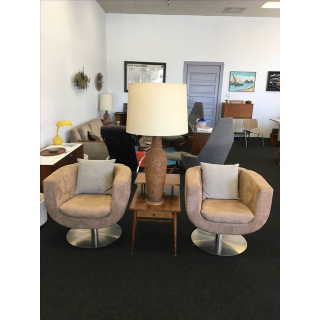 Triumph Microsuede Tulip Chairs - A Pair - Image 3 of 8