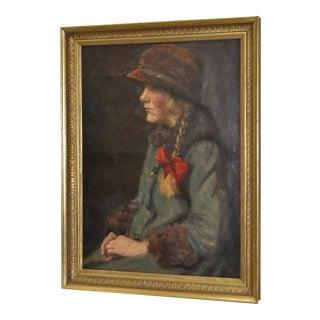 """Carl Stilling """"Dutch Girl"""" Oil on Canvas, C.1924"""