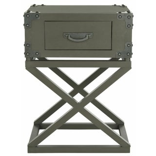 Trunk Style Accent Table with One Drawer in Grey