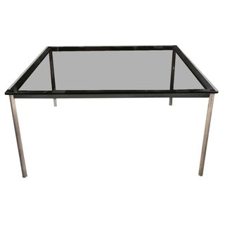 Le Corbusier Glass Top & Steel Dining Table