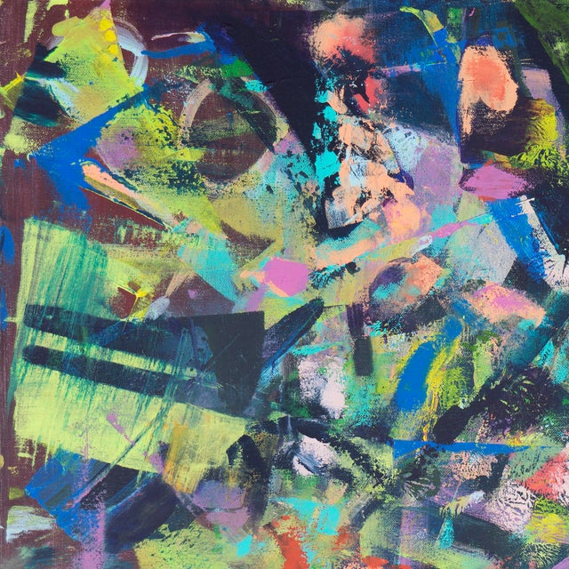 Contemporary Lilac & Chestnut Abstract - Image 2 of 6