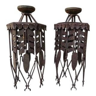 Pair of Spanish Wrought Iron Lanterns