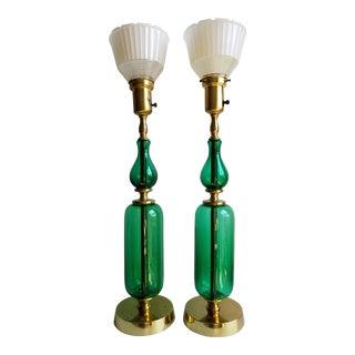 Mid- Century Modern Tall Emerald Green Blenko Art Glass Table Lamps - a Pair