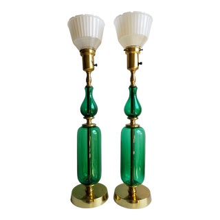 Mid 20th Century Modern Blenko Tall Emerald Green Glass Table Lamps - A Pair