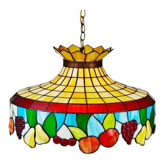Vintage Tiffany Style Stained Glass Chandelier