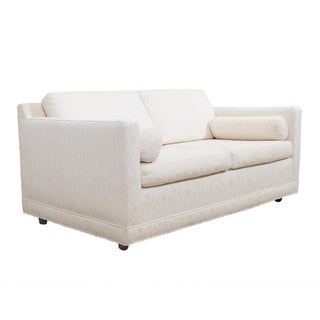 White Mid-Century Modern Love Seat / Compact Sofa