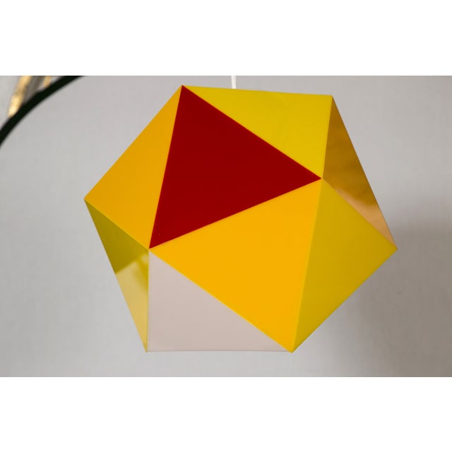 Geodesic Yellow & Orange Acrylic Pendant Light - Image 2 of 6