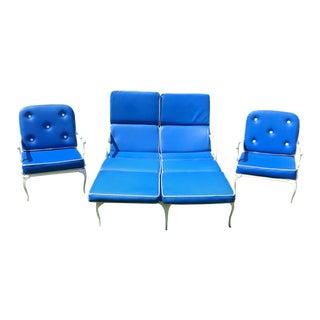 1930s Molla Double Chaise Cast Aluminum Patio Set - S/3