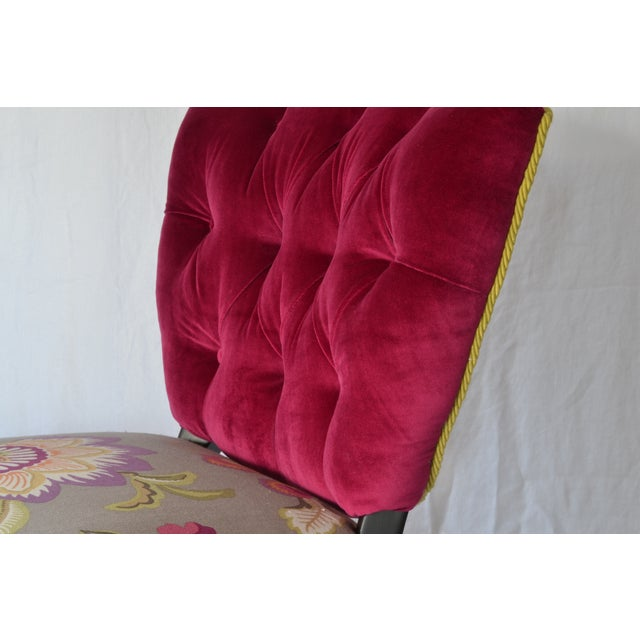 Tufted Velvet Vintage French Chairs - a Pair - Image 5 of 7