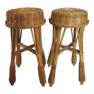 Mid-Century Rattan Stools - Set of 2