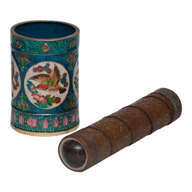 Vintage Peking Brush Pot & Kaleidoscope - Image 1 of 11