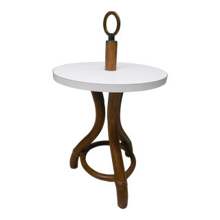 Ficks Reed Vintage Bamboo Rattan Round Accent Table