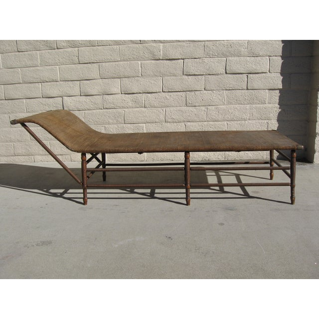 Image of Antique 1900s Rattan & Maple Chaise Lounge