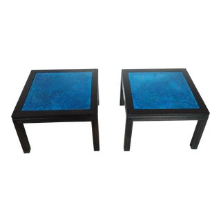 Gregori Blue Lapis Stone , Marble Side Tables - a Pair