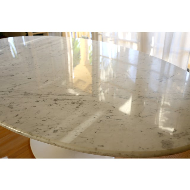 Saarinen Style Oval Marble Dining Table - Image 4 of 7