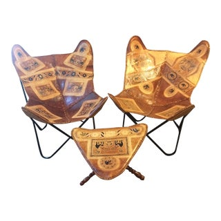 Vintage Leather Butterfly Chairs & Ottoman - Set of 3