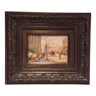 "Framed ""City Scene III"" Oil Painting"