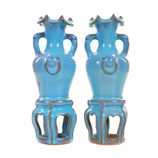 19th C. Chinese Blue Vases Chin Dynasty - A Pair