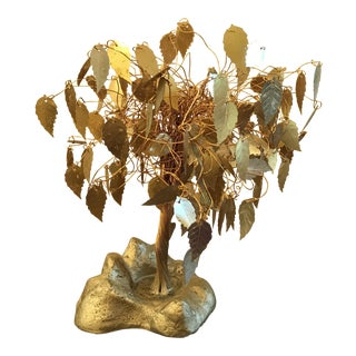 Vintage Brass Tree Sculpture